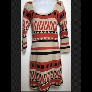 FLYING TOMATO Sweater Dress Aztec Red Boho Scoop